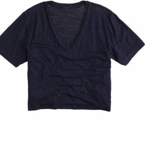 J.Crew Women's Blue Linen V-neck Cropped T-shirt